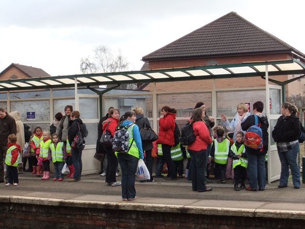 Witton Walk Primary School waiting for a train