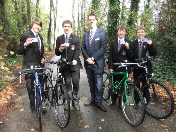 Pupils from St Ambrose receive their Northern Rail Cycle passes
